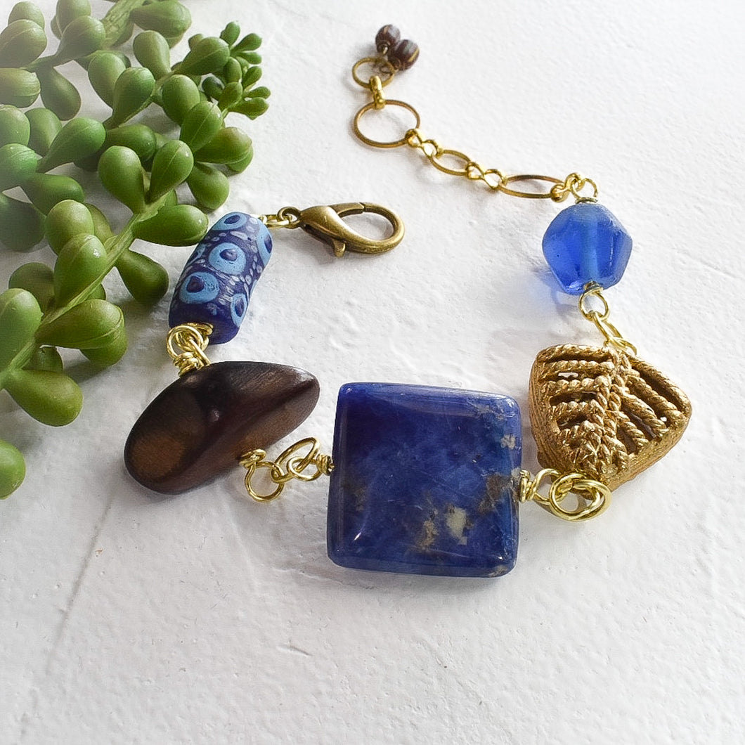 Sodalite and African Beaded Charm Bracelet