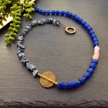Load image into Gallery viewer, Blue Coral and Rose Quartz Asymmetrical Necklace - Afrocentric jewelry