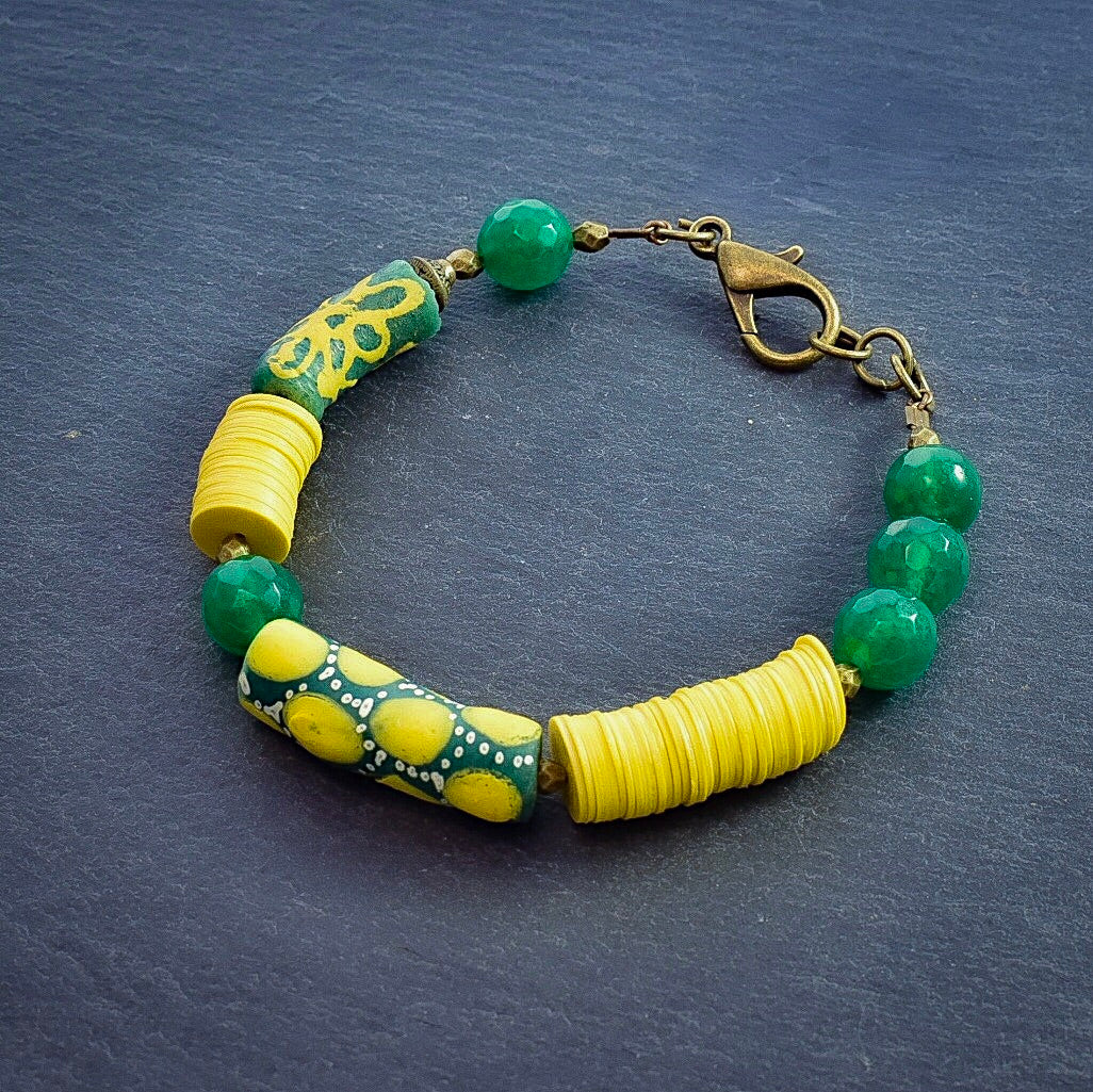Refined Green and Yellow Trade Bead Bracelet #1 - Afrocentric jewelry