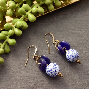 Blue Lantern Recycled Glass Earrings - Afrocentric jewelry