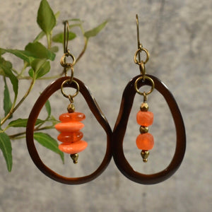 Brown and Orange Tagua Hoop Earrings with African Bead Accents - Afrocentric jewelry