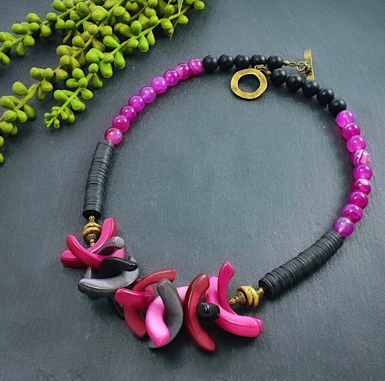 Magenta and Black Tagua and Recycled Vinyl Statement Necklace