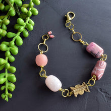 Load image into Gallery viewer, Pink Rose Quartz African Beaded Charm Bracelet
