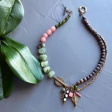 Load image into Gallery viewer, Jasper and Prehnite Helix Afrobohemian Necklace (Made to Order)