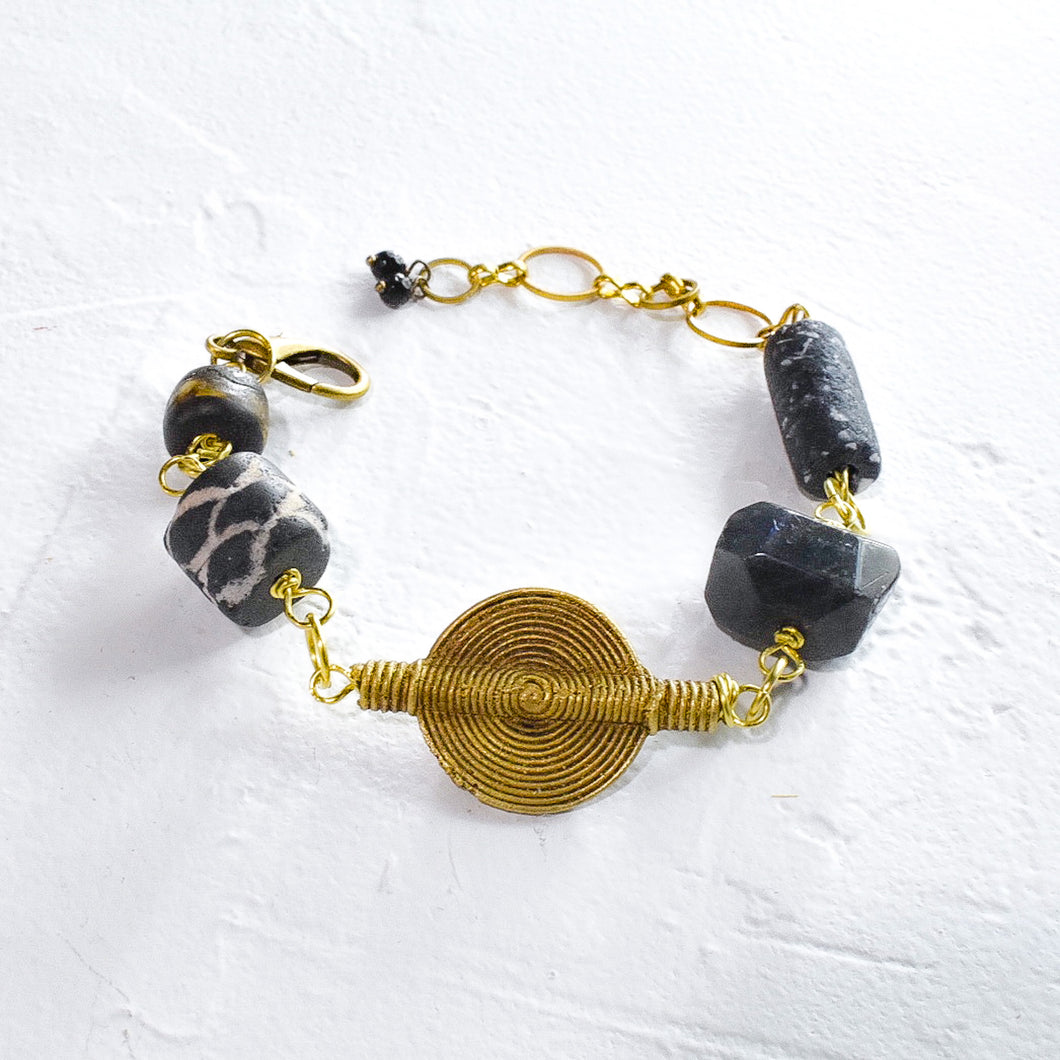 Labradorite and Black African Beaded Charm Bracelet