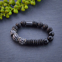 Load image into Gallery viewer, Black and White African Beaded Bracelet with Hematite and Lava Beads - Afrocentric jewelry
