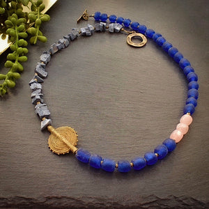 Blue Coral and Rose Quartz Asymmetrical Necklace - Afrocentric jewelry