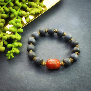 Carnelian and Gray African Beaded Chunky Bracelet