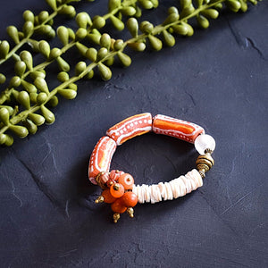 Orange and White Cluster African Bracelet- Reserved for CVF