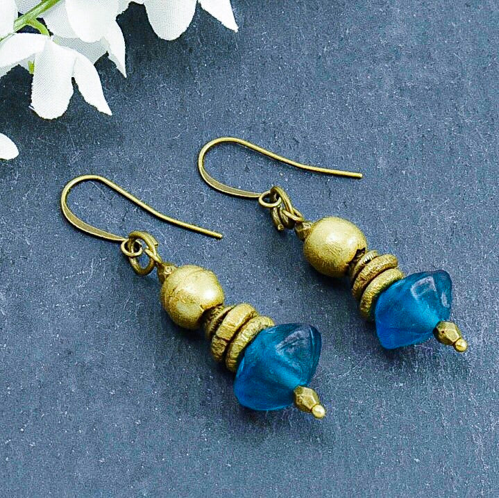 Teal Recycled Glass Saucer and Brass Earrings - Afrocentric jewelry