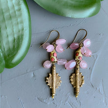 Load image into Gallery viewer, Bubbling Up and Down: Rose Quartz and African Bead Earrings