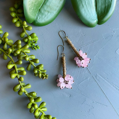 Bubbling UP: Rose Quartz and African Bead Earrings