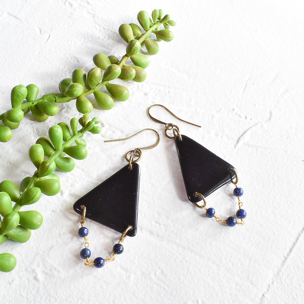 Black Tagua Triangle Earrings with Lapis