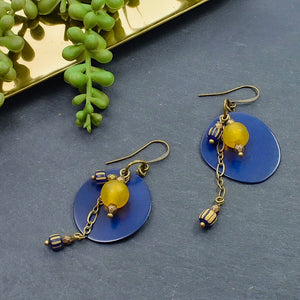 Royal Blue and Yellow Tagua Dangle Earrings - Afrocentric jewelry