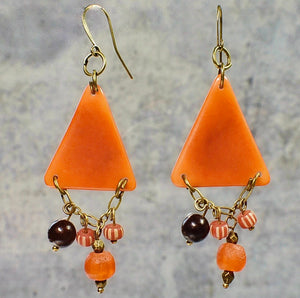Orange Tagua Triangle Earrings with African Brass and Recycled Glass - Afrocentric jewelry