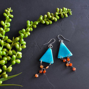 Turquoise Tagua and Carnelian Triangle Earrings