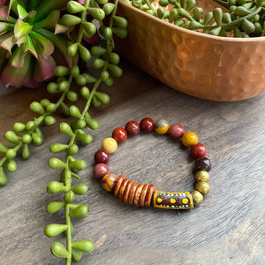 Mookaite Jasper and African Beaded Bracelet