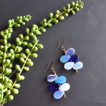 Load image into Gallery viewer, Blue and White Mali Wedding Bead Drop Earrings