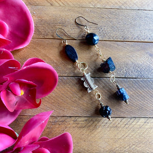Black Asymmetrical Diva Swing Earrings for C.L. (made to order)