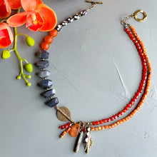 Load image into Gallery viewer, Labradorite and Carnelian Helix Afrobohemian Necklace