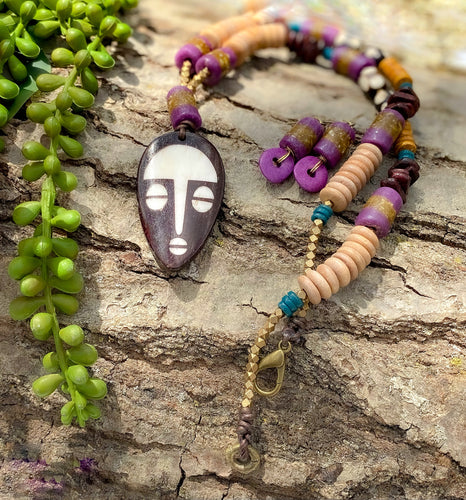 Purple Mask Necklace and Earring Set