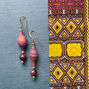 Striped Berry and Garnet Earrings