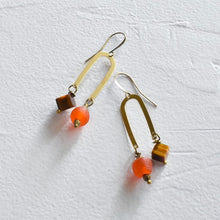 Load image into Gallery viewer, Brass U-Shaped Orange and Tiger's Eye Earrings (Choice)