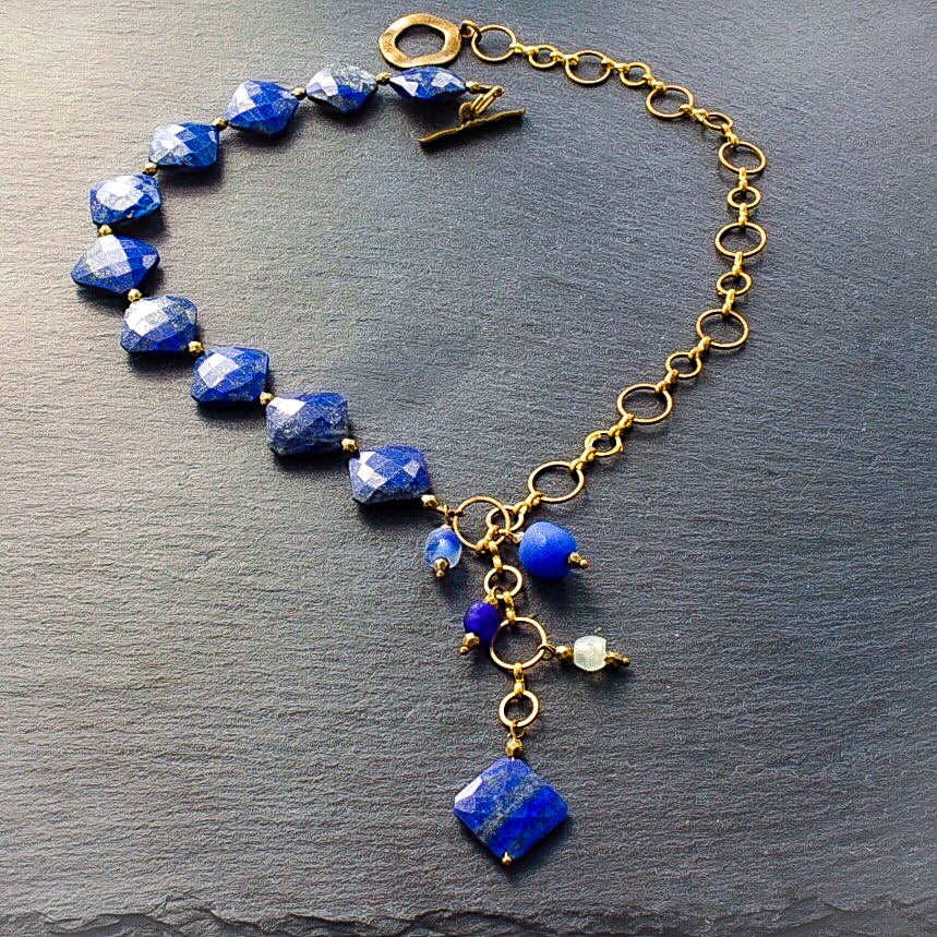 Faceted Lapis and Brass Lariat Necklace