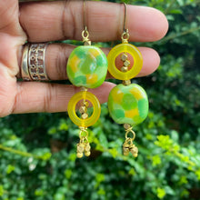 Load image into Gallery viewer, Yellow Kazuri and Brass Dangle Earrings