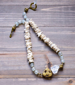 White Quartz, Magenesite and Translucent Krobo Necklace - Afrocentric jewelry