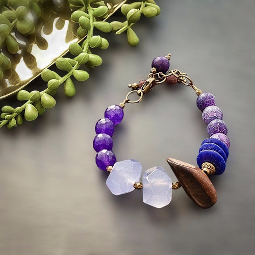 Purple Agate and Africa Beaded Toggle Bracelet