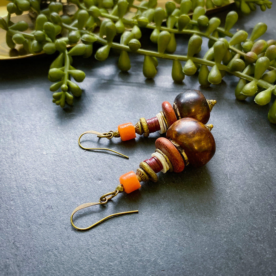 Orange and Brown Drop Earrings