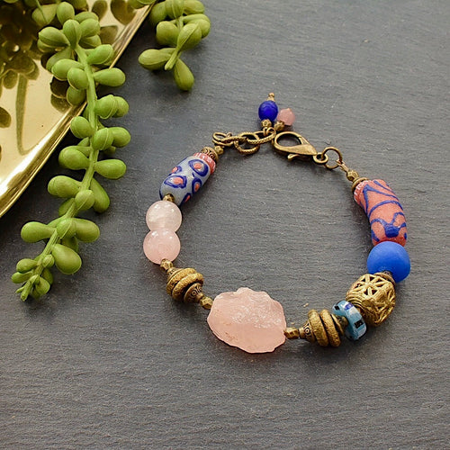 Rose Quartz and Blue African Beaded Toggle Bracelet - Afrocentric jewelry