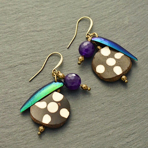 Take Flight Earrings #1: Iridescent Green, Purple, and Polka Dot Earrings - Afrocentric jewelry