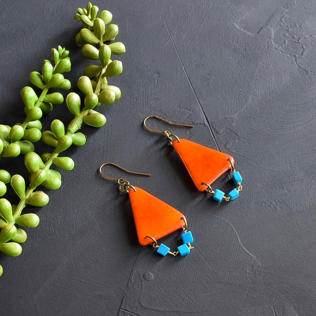 Orange and Turquoise Tagua Triangle Earrings