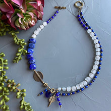 Load image into Gallery viewer, Lapis and Freshwater Pearl Afrobohemian Asymmetrical Necklace