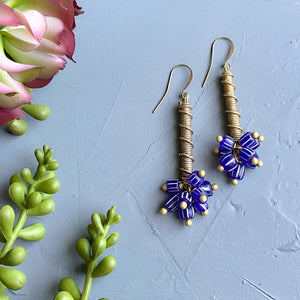 Blue Bubbles: Navy and White Brass Drop Earrings