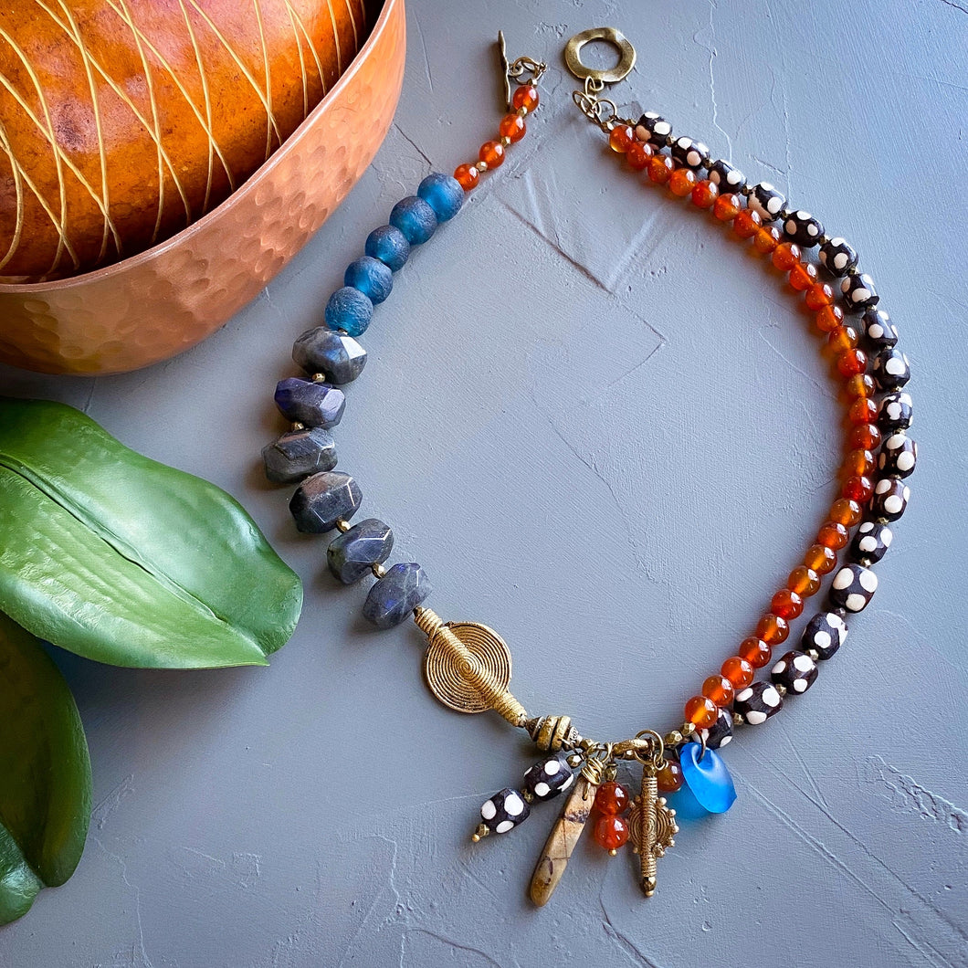 Labradorite and Carnelian Helix Afrobohemian Necklace (Made to Order)