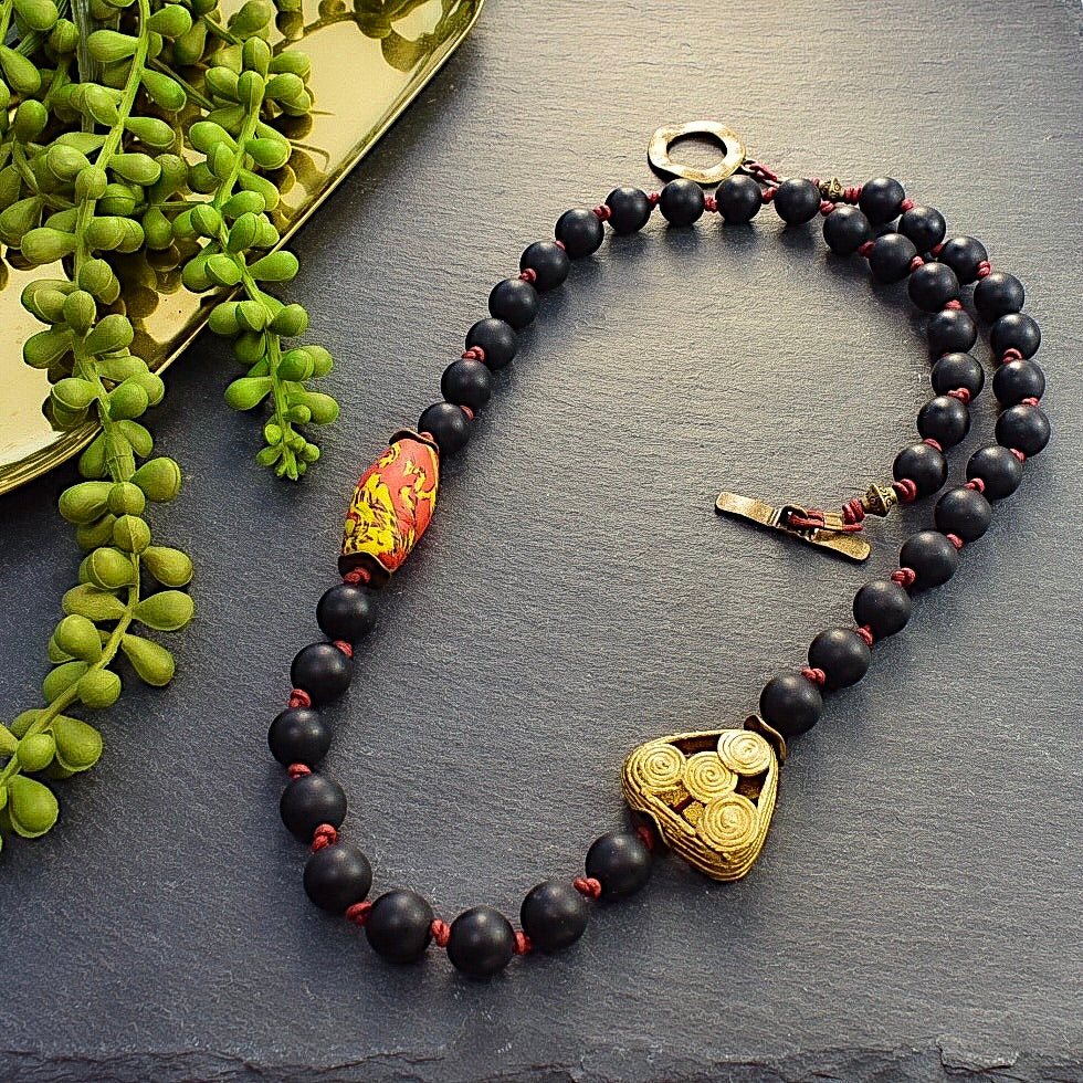 Black Agate and Red Recycled Glass Necklace - Afrocentric jewelry