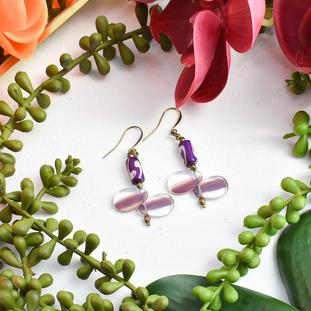 Rock Candy: Purple White Mali Wedding Bead Drop Earrings
