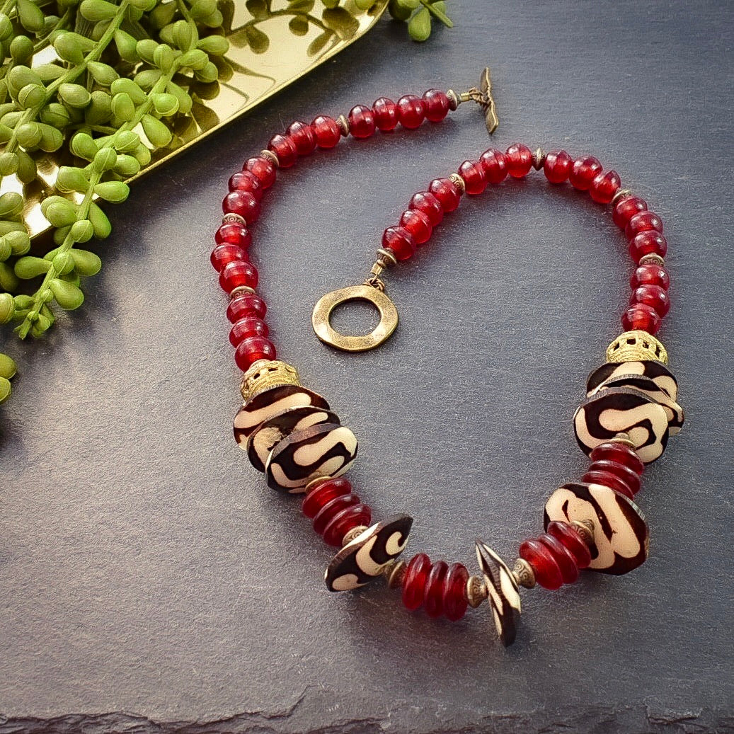 Red Horn and Batik Bone Necklace - Afrocentric jewelry