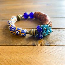 Load image into Gallery viewer, Blue Abundance African Beaded Bracelet
