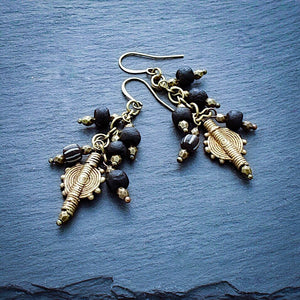 Black African Trade Bead Waterfall Earrings - Afrocentric jewelry
