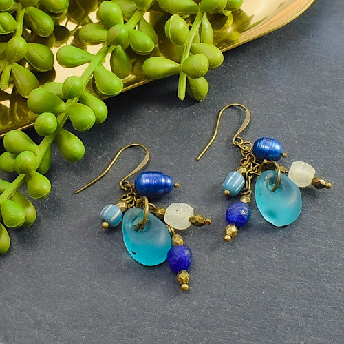 Shades of Blue Recycled Glass and Pearl Earrings