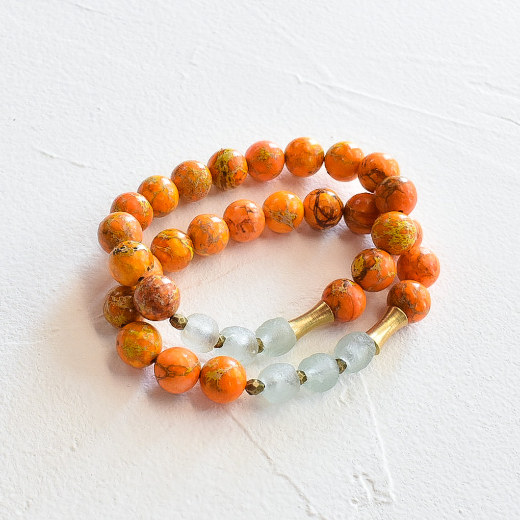 Orange Sediment Jasper Bracelet with Recycled Glass (Made to Order)
