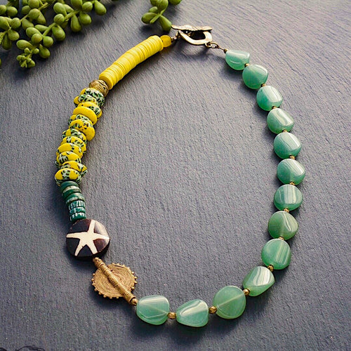 Aventurine Bohemian Necklace with African Trade Bead and Ashanti Brass - Afrocentric jewelry