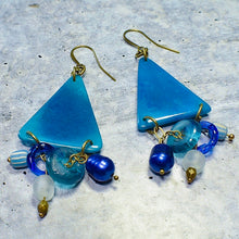 Load image into Gallery viewer, Teal Blue Tagua Triangle Earrings with African Brass and Recycled Glass - Afrocentric jewelry