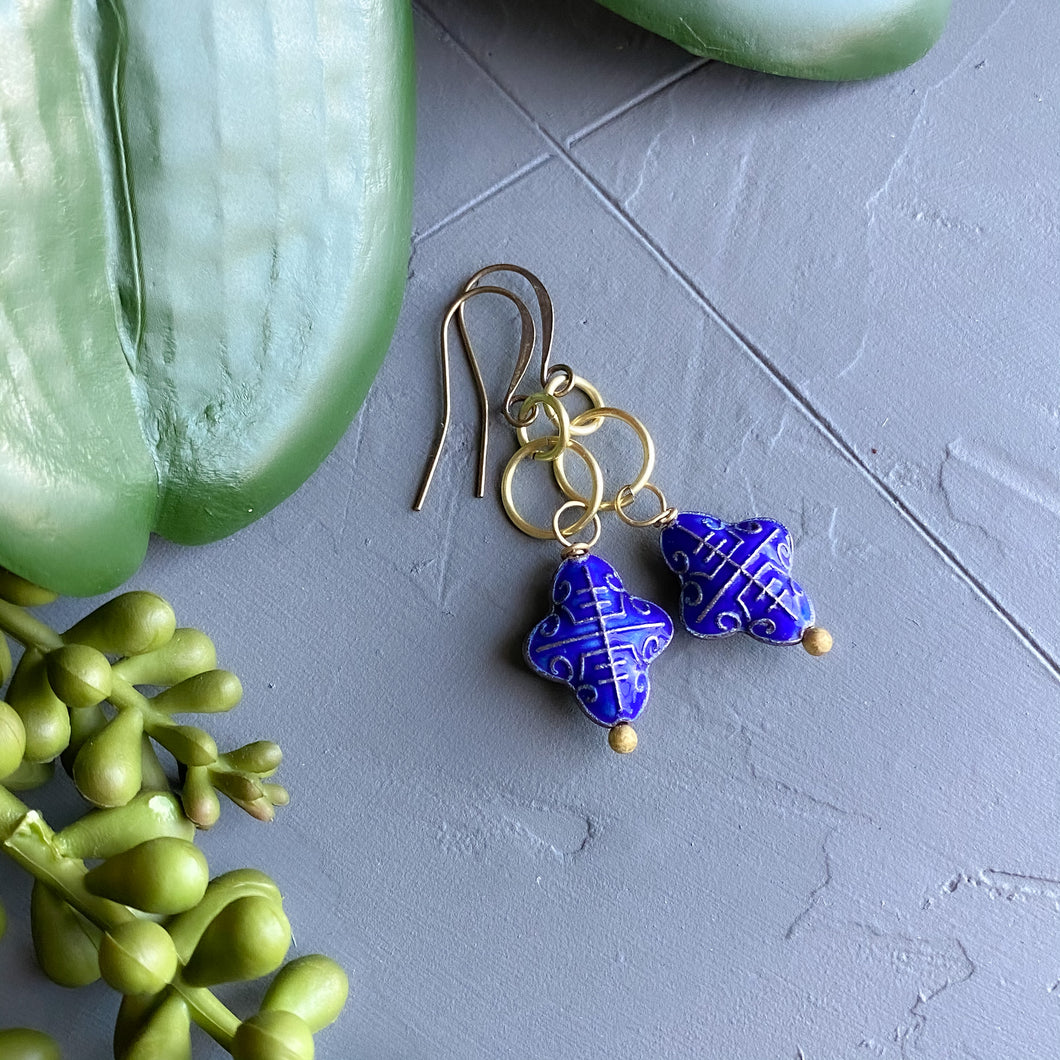 Bright Blue Cloisonné Earrings