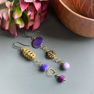 Purple Asymmetrical Diva Swing Earrings