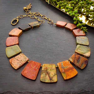 Red Creek Jasper Trapezoid Bead Statement Necklace (pre-order) - Afrocentric jewelry